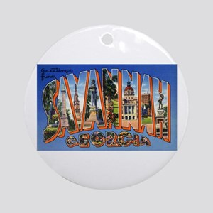 Savannah Georgia Greetings Ornament (Round)